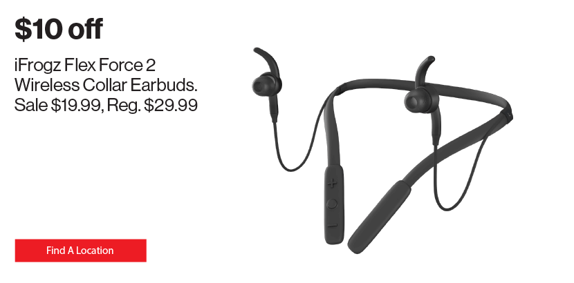 $10 off iFrogz Flex Force 2 Wireless Collar Earbuds.