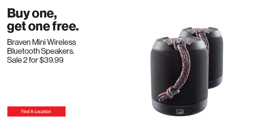 Buy one, get one free Braven Mini Wireless Bluetooth Speakers.