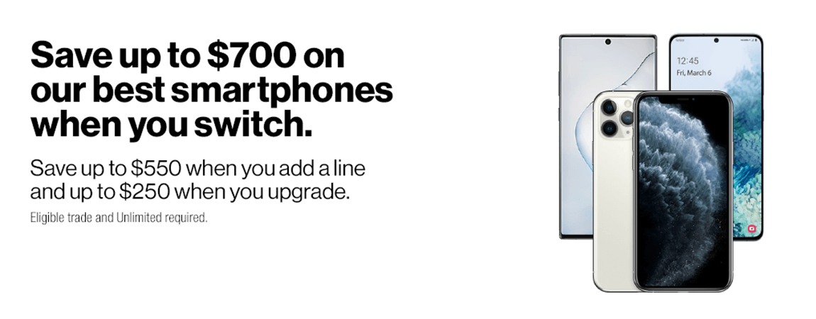 Save up to $700 on our best smartphones when you switch
